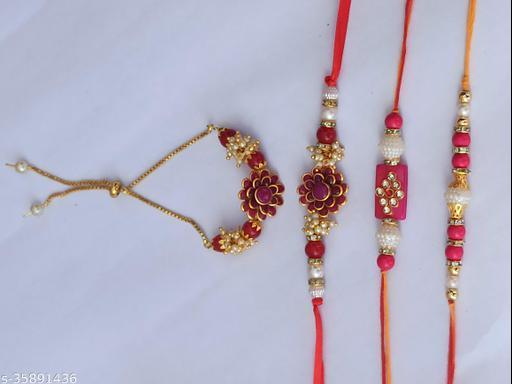 Radhe Krishna Creation Handmade Designer Rakhi (Pack of 04)