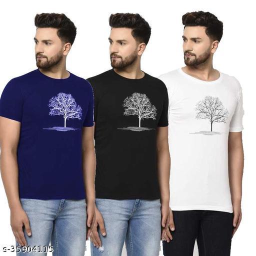 NIKLINE NAVY WHITE BLACK TREE T SHIRT FOR MEN