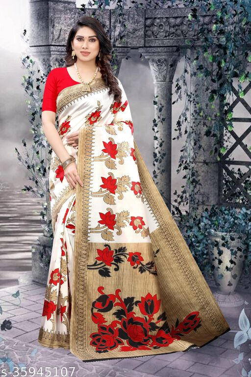 QUALITY FLORAL , LIGHT WEIGHT COMFERTABLE WEAR   ( MATERIAL BEST  BLENDED ART SILK ) SKIN FRIENDLY SAREE