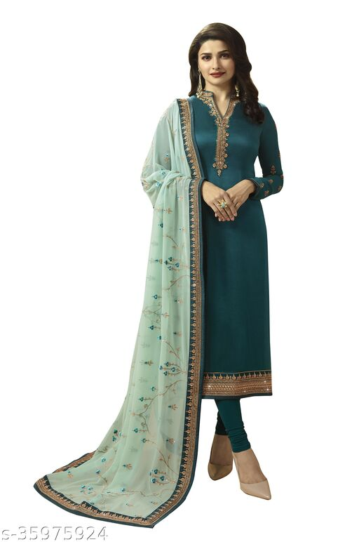 Women's Turquoise Georgette Satin/ Haevy Georgette/Pure Georgette  Semi-Stitched Embroidered Straight Salwar Suit (Free Size)