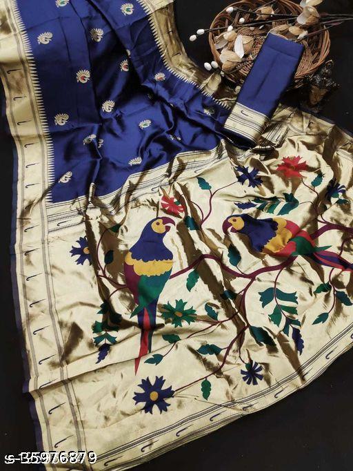 Couple Parrot  Beautiful Art Silk Woven Paithani Saree Collection