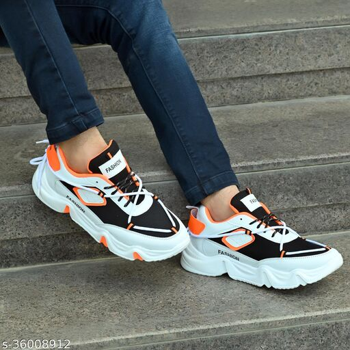 Fashion Outdoor Canvas Casual Light Weight Lace-up Evening Walk Running Shoes For Men Sneakers For Men(White::Orange)