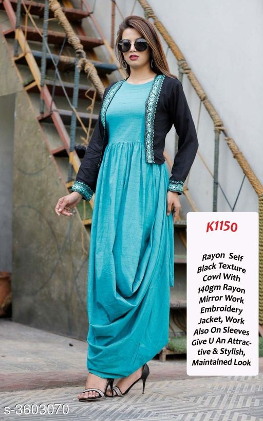 Kurta Sets  Colorful Printed  Rayon Kurtis  *Fabric* rayon  *Sleeves* Sleeves Are Included  *Size* Kurti -  M - 38 in, L - 40 in, XL - 42 in, 2XL - 44 in,  *Shrug size* M - 38 in, L - 40 in, XL - 42 in, 2XL - 44 in,  *Length* Kurti - Up To 46 in, shrug size up to 19in  *Type* Stitched  *Description* It Has 1 Piece Of Women's Kurti & 1 Piece Of Women's Jacket  *Work * Mirror Work  *Sizes Available* M, L, XL, XXL *    Catalog Name:  Colorful Printed  Rayon Kurtis Vol 12 CatalogID_502281 C74-SC1003 Code: 547-3603070-