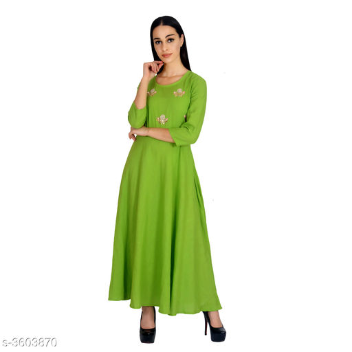 Gowns Attractive Rayon Western Gown  *Fabric* Rayon  *Sleeves* Short Sleeves Are Included  *Size* S - 36 in, M - 38 in, L - 40 in, XL - 42 in, XXL - 44 in  *Length* Up To 56 in  *Type* Stitched  *Description* It Has 1 Piece Of  Women's Gown  *Color* Parrot Green  *Work* Printed  *Sizes Available* S, M, L, XL, XXL *    Catalog Name: Vasavi Attractive Rayon Western Gowns Vol 8 CatalogID_502404 C79-SC1289 Code: 975-3603870-