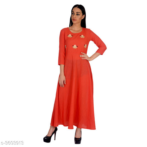 Gowns Attractive Rayon Western Gown  *Fabric* Rayon  *Sleeves* Short Sleeves Are Included  *Size* S - 36 in, M - 38 in, L - 40 in, XL - 42 in, XXL - 44 in  *Length* Up To 56 in  *Type* Stitched  *Description* It Has 1 Piece Of  Women's Gown  *Color* Peach  *Work* Printed  *Sizes Available* S, M, L, XL, XXL *    Catalog Name: Vasavi Attractive Rayon Western Gowns Vol 8 CatalogID_502404 C79-SC1289 Code: 975-3603913-
