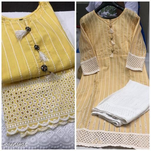 Kurta Sets Women Chikankari Cotton Kurta set with Palazzos  *abric* Kurti - Cotton, & Palazzo - Cotton.  *Sleeves* Sleeves Are Included  *Size* Kurti -  L - 40 in, XXL - 44 in, Palazzo, L - 32 in, XXL - 36 in  *Length* Kurti - Up To 46 in & Palazzo - Up To 40in  *Type* Stitched  *Description* It Has 1 Piece Of Kurti & 1 Piece Of Palazzo  *Work * Kurti - Chikankari, Palazzo - Chikankari  *Sizes Available* L, XXL, XXXL   Catalog Rating: ★4 (666) Supplier Rating: ★3.9 (60755) SKU: Kaira-1-chiku Shipping charges: Rs1 (Non-refundable) Pkt. Weight Range: 300  Catalog Name: Women's Embroidered Cotton Kurta Set with Palazzos - Payal Fashion Code: 956-3604624--077