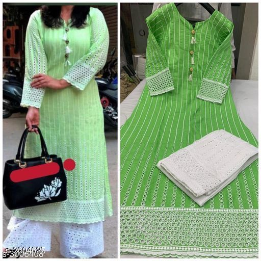 Kurta Sets Women Chikankari Cotton Kurta set with Palazzos  *abric* Kurti - Cotton, & Palazzo - Cotton.  *Sleeves* Sleeves Are Included  *Size* Kurti -  L - 40 in, XXL - 44 in, Palazzo, L - 32 in, XXL - 36 in  *Length* Kurti - Up To 46 in & Palazzo - Up To 40in  *Type* Stitched  *Description* It Has 1 Piece Of Kurti & 1 Piece Of Palazzo  *Work * Kurti - Chikankari, Palazzo - Chikankari  *Sizes Available* L, XXL, XXXL   Catalog Rating: ★4 (666) Supplier Rating: ★3.9 (60755) SKU: Kaira-01-green Shipping charges: Rs1 (Non-refundable) Pkt. Weight Range: 300  Catalog Name: Women's Embroidered Cotton Kurta Set with Palazzos - Payal Fashion Code: 956-3604625--077