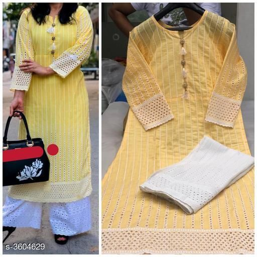 Kurta Sets Women Chikankari Cotton Kurta set with Palazzos  *abric* Kurti - Cotton, & Palazzo - Cotton.  *Sleeves* Sleeves Are Included  *Size* Kurti -  L - 40 in, XXL - 44 in, Palazzo, L - 32 in, XXL - 36 in  *Length* Kurti - Up To 46 in & Palazzo - Up To 40in  *Type* Stitched  *Description* It Has 1 Piece Of Kurti & 1 Piece Of Palazzo  *Work * Kurti - Chikankari, Palazzo - Chikankari  *Sizes Available* L, XXL, XXXL   Catalog Rating: ★4 (666) Supplier Rating: ★3.9 (60755) SKU: Kaira-01-Yellow Shipping charges: Rs1 (Non-refundable) Pkt. Weight Range: 300  Catalog Name: Women's Embroidered Cotton Kurta Set with Palazzos - Payal Fashion Code: 956-3604629--077