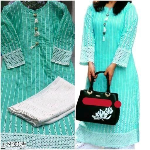 Kurta Sets Women Chikankari Cotton Kurta set with Palazzos  *Fabric* Kurti - Cotton, & Palazzo - Cotton.  *Sleeves* Sleeves Are Included  *Size* Kurti -  L - 40 in, XXL - 44 in, Palazzo, L - 32 in, XXL - 36 in  *Length* Kurti - Up To 46 in & Palazzo - Up To 40in  *Type* Stitched  *Description* It Has 1 Piece Of Kurti & 1 Piece Of Palazzo  *Work * Kurti - Chikankari, Palazzo - Chikankari  *Sizes Available* L, XXL, XXXL   Catalog Rating: ★4 (666) Supplier Rating: ★3.9 (60755) SKU: Kaira-01-New rama Shipping charges: Rs1 (Non-refundable) Pkt. Weight Range: 300  Catalog Name: Women's Embroidered Cotton Kurta Set with Palazzos - Payal Fashion Code: 956-3604630--077