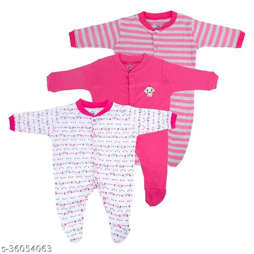 New Born Baby Multi-Color Long Sleeve Body Suit,Romper, Sleep Suit for Boys and Girls Unisex Combo Pack (Pack of 3) (0-3 Months, Pink)