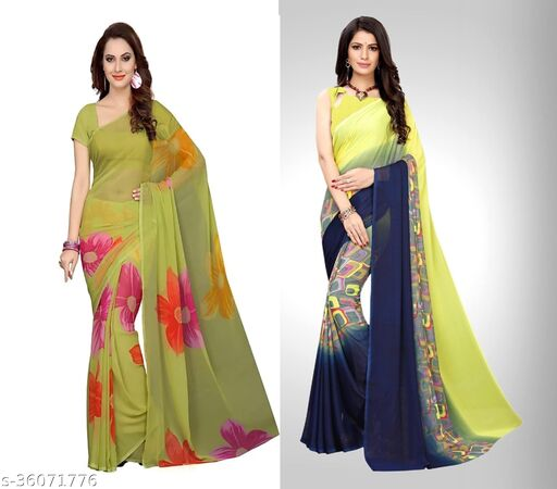 Multicolor Printed Georgette Saree Pack of 2 Combo
