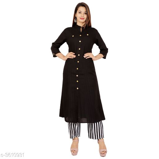 Kurta Sets Pretty Attractive Women's Kurta Set  *Fabric Kurti* Rayon, Palazzo - Rayon   *Sleeves* Sleeves Are Included   *Size* Kurti - M - 38 in, L - 40 in, XL - 42 in, XXL - 44 in, 3XL - 46 in, Palazzo   *Length* Kurti - Up To 46 in, Palazzo   *Type* Stitched   *Description* It Has 1 Piece Of Women's Kurti & 1 Piece Of Women's Palazzo   *Work / Pattern* Button, Palazzo - Striped  *Sizes Available* M, L, XL, XXL, XXXL   SKU: Black Line Kurta Palazzo Set Free shipping is available for this item. Pkt. Weight Range: 500  Catalog Name: Alisha Pretty Attractive Women's Kurta Sets Vol 15 - Laxmi Industries Code: 066-3610931--
