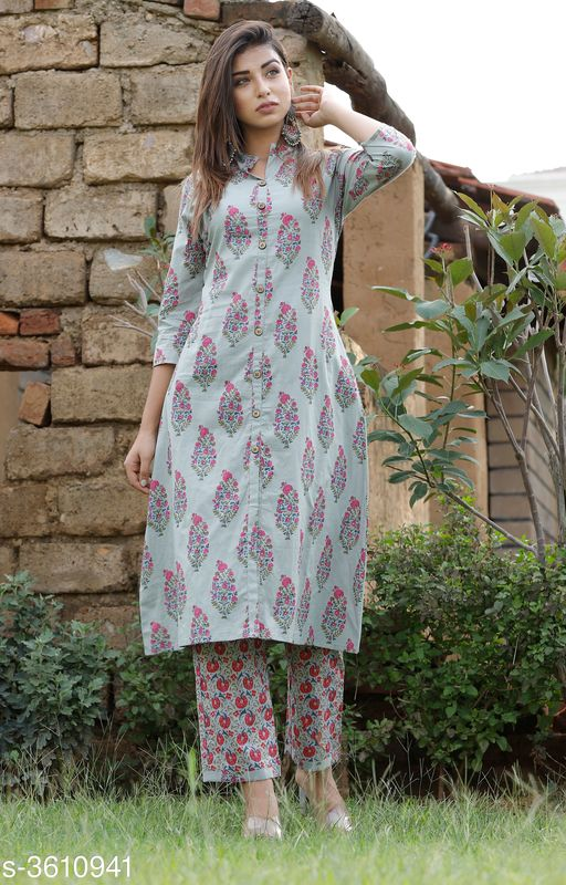 Kurta Sets Pretty Attractive Women's Kurta Set  *Fabric Kurti* Cotton, Palazzo - Cotton   *Sleeves* Sleeves Are Included   *Size* Kurti - M - 38 in, L - 40 in, XL - 42 in, XXL - 44 in, 3XL - 46 in, Palazzo   *Length* Kurti - Up To 46 in, Palazzo   *Type* Stitched   *Description* It Has 1 Piece Of Women's Kurti & 1 Piece Of Women's Palazzo   *Work Kurti* Printed, Palazzo - Printed  *Sizes Available* M, L, XL, XXL, XXXL   SKU: New Butta Printed Kurta Palazzo Set Free shipping is available for this item. Pkt. Weight Range: 500  Catalog Name: Alisha Pretty Attractive Women's Kurta Sets Vol 15 - Laxmi Industries Code: 918-3610941--