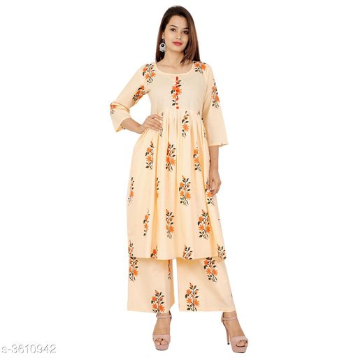 Kurta Sets Pretty Attractive Women's Kurta Set  *Fabric Kurti* Cotton, Palazzo - Cotton   *Sleeves* Sleeves Are Included   *Size* Kurti - M - 38 in, L - 40 in, XL - 42 in, XXL - 44 in, 3XL - 46 in, Palazzo   *Length* Kurti - Up To 46 in, Palazzo   *Type* Stitched   *Description* It Has 1 Piece Of Women's Kurti & 1 Piece Of Women's Palazzo   *Work Kurti* Printed, Palazzo - Printed  *Sizes Available* M, L, XL, XXL, XXXL   SKU: Peach Kurta Palazzo Set Free shipping is available for this item. Pkt. Weight Range: 500  Catalog Name: Alisha Pretty Attractive Women's Kurta Sets Vol 15 - Laxmi Industries Code: 066-3610942--