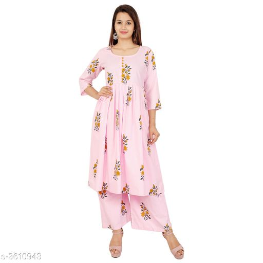 Kurta Sets Pretty Attractive Women's Kurta Set  *Fabric Kurti* Cotton, Palazzo - Cotton   *Sleeves* Sleeves Are Included   *Size* Kurti - M - 38 in, L - 40 in, XL - 42 in, XXL - 44 in, 3XL - 46 in, Palazzo   *Length* Kurti - Up To 46 in, Palazzo   *Type* Stitched   *Description* It Has 1 Piece Of Women's Kurti & 1 Piece Of Women's Palazzo   *Work Kurti* Printed, Palazzo - Printed  *Sizes Available* M, L, XL, XXL, XXXL   SKU: Pink Kurta Palazzo Set Free shipping is available for this item. Pkt. Weight Range: 500  Catalog Name: Alisha Pretty Attractive Women's Kurta Sets Vol 15 - Laxmi Industries Code: 066-3610943--
