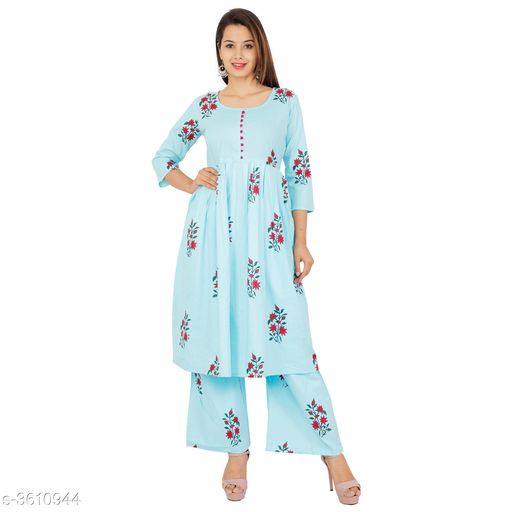 Kurta Sets Pretty Attractive Women's Kurta Set  *Fabric Kurti* Cotton, Palazzo - Cotton   *Sleeves* Sleeves Are Included   *Size* Kurti - M - 38 in, L - 40 in, XL - 42 in, XXL - 44 in, 3XL - 46 in, Palazzo   *Length* Kurti - Up To 46 in, Palazzo   *Type* Stitched   *Description* It Has 1 Piece Of Women's Kurti & 1 Piece Of Women's Palazzo   *Work Kurti* Printed, Palazzo - Printed  *Sizes Available* M, L, XL, XXL, XXXL   SKU: Sky Blue Kurta Palazzo Set Free shipping is available for this item. Pkt. Weight Range: 500  Catalog Name: Alisha Pretty Attractive Women's Kurta Sets Vol 15 - Laxmi Industries Code: 066-3610944--