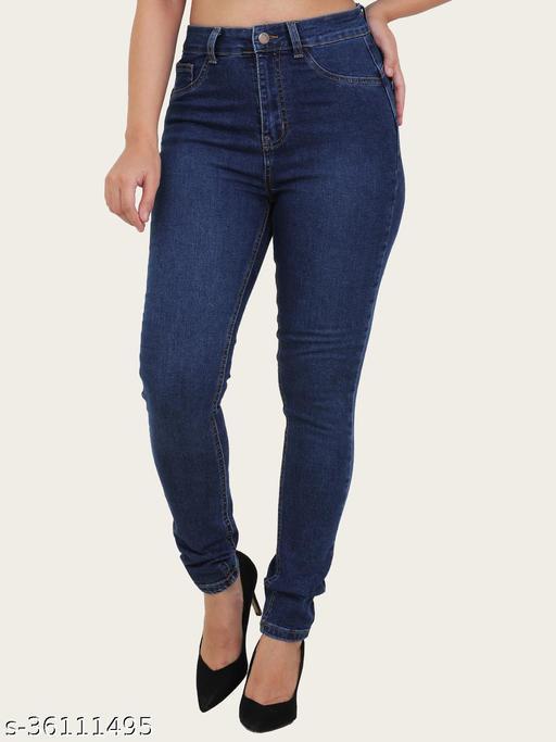 Sisney Women High Rise Dark Blue Jeans