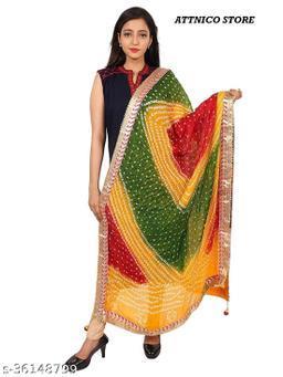 Bhandhani Art Silk Polka Dot Printed Bandhej dupatta with Gota Patti Moti ladi Boder 2 Latkan's ( Free Size 2.25M )