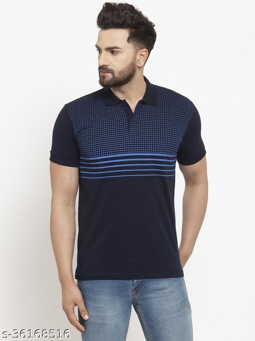 Gents Collar Front Printed Blue Half Sleeves Tshirt