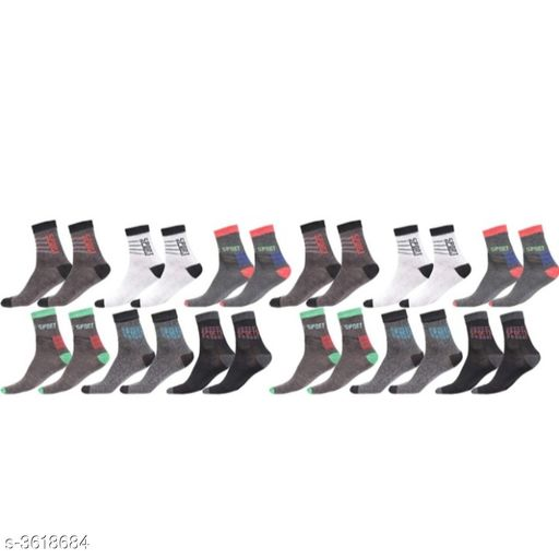 Comfy Cotton Spandex Unisex Sock (Pack Of 12)