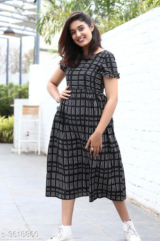 Women's Striped Black Cotton Dress