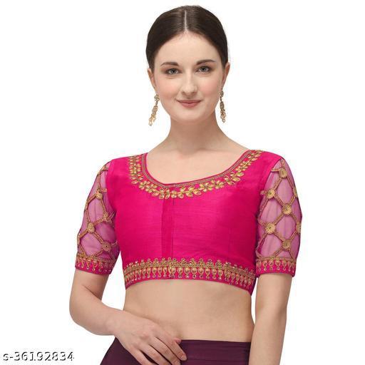 Adbhutam Women's Embroidered pink Phantom Silk Blouse With Round Neck  ( BL-20080-Pink)_Free_Size