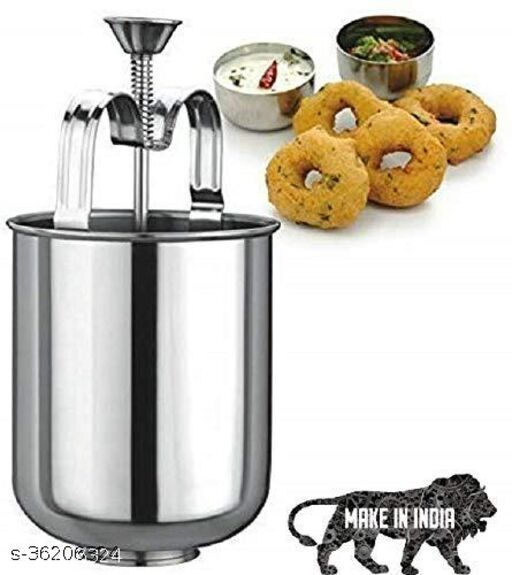 Mendu Vada Maker Machine Stainless Steel Hygienic with Stand Silver Color 1psc