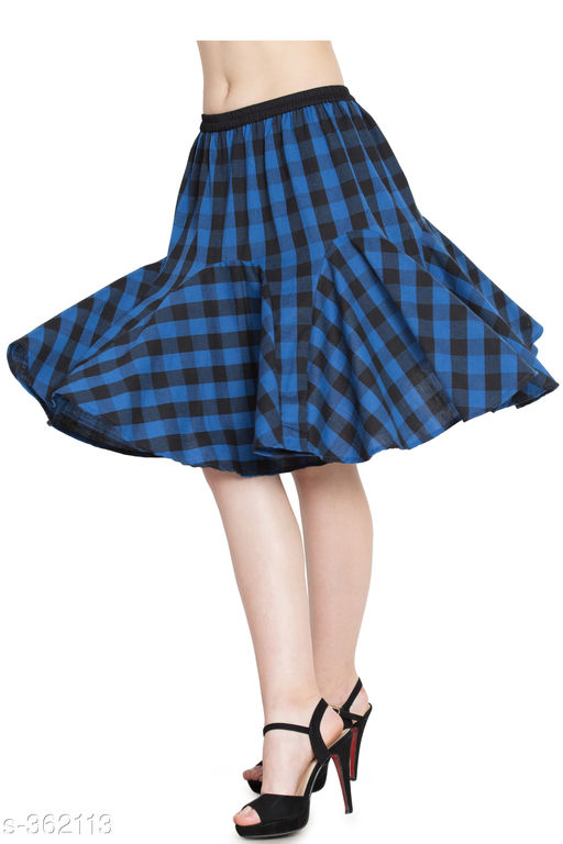 Skirts Beautiful Cotton Skirt  *Fabric* Cotton  *Waist Size* 34 in, 36 in, 38 in,40 in, 42 in, 44 in  *Length* Up To 30 in  *Type* Stitched  *Description* It Has 1 Piece Of Skirt  *Work* Checkered  *Sizes Available* 26, 28, 30, 32, 34, 36, 38, 40, 44 *   Catalog Rating: ★4.1 (290)  Catalog Name: Ladies Checkered Cotton Gored Skirts CatalogID_38730 C79-SC1040 Code: 253-362113-