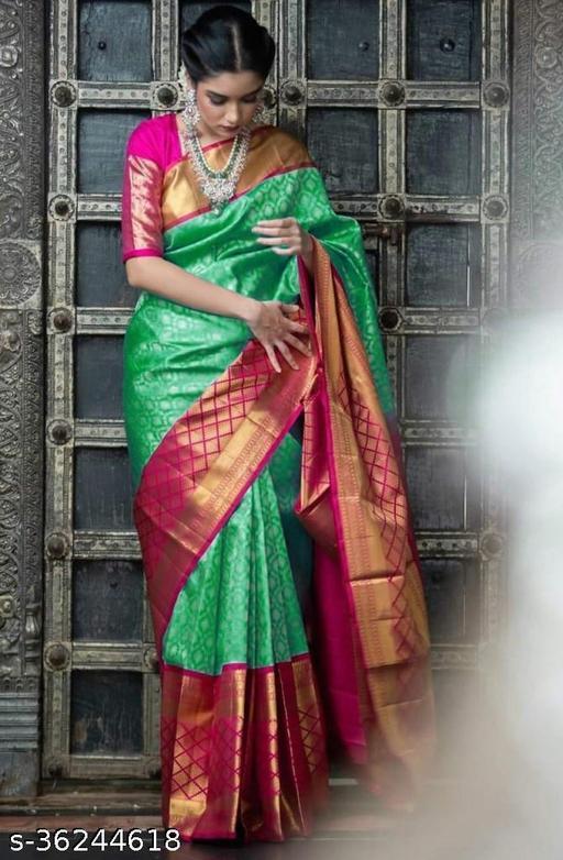 Beautiful Designer Kanjeevaram silk Saree with Blouse piece for Women