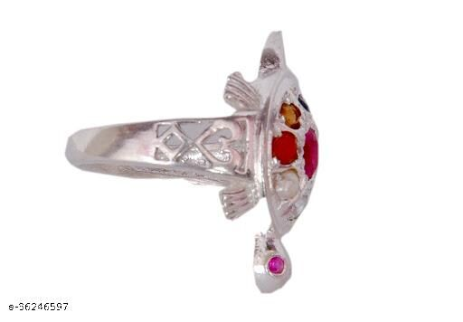 Navratna Tortoise (Turtle) Ring with Natural Navgrah 9 Gemstone's Astrological & Lab Certified Stone for men and women