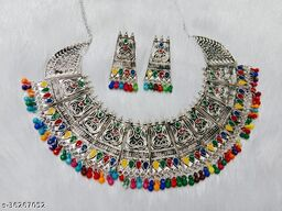 Elegant Multicolor Necklace With Earrings