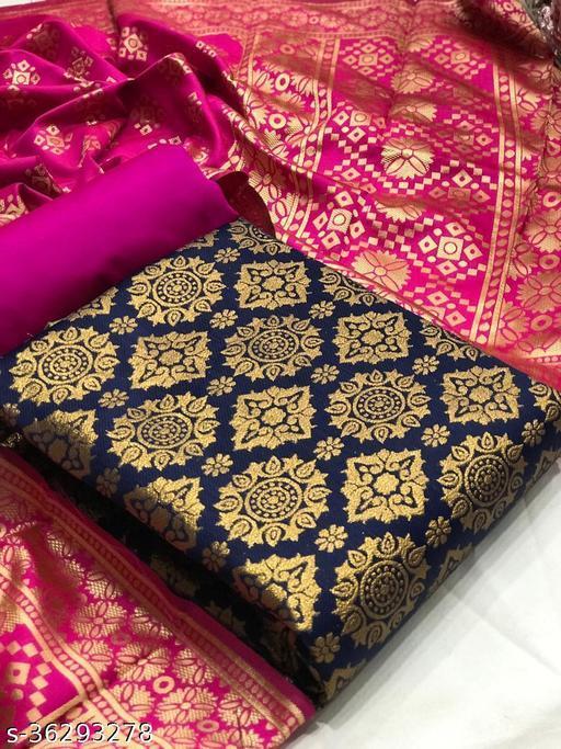 Anni Designer Navy Blue Color Banarasi Jacquard Silk Weaving Dress Material (BANARASI-30-NAVY BLUE)