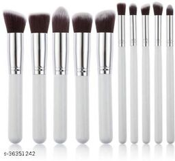 10 Piece Makeup Brush Set Without Pouch (white)(Pack of 10)