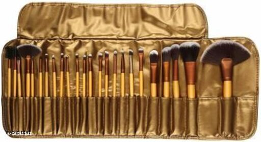 Professional Cosmetic Brush Set (24 Pieces) with Golden Leather Pouch for Eye Shadow Blush Concealer(Pack of 24)