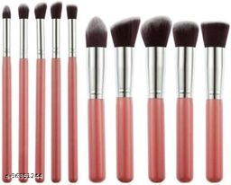 10 Pieces Professional Makeup Brush Set Professional Foundation Blending Blush Eye Face Liquid Powder Cream Cosmetics Makeup Brushes Kit(Pack of 10)
