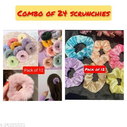 Trendy Women's   Multicolor Fabric Fur Scrunchies