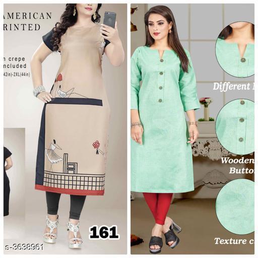 Kurtis & Kurtas Stylish Cotton Women's  Kurti   *Fabric* KURTI 1  *Sleeves* Sleeves Are Included  *Size* Kurti -1  *Length * Kurti -1  *Type* Stitched  *Description* It Has 2 Piece Of Women's Kurti  *Work* Kurti -1  *Sizes Available* L, XL, XXL   SKU: 161..pista Free shipping is available for this item. Pkt. Weight Range: 500  Catalog Name: Aagyeyi Superior Kurtis - Nejadhari Fashion Code: 967-3638961--