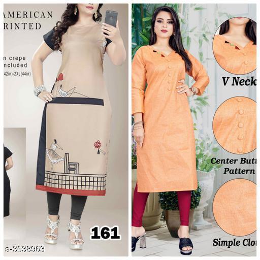 Kurtis & Kurtas Stylish Cotton Women's  Kurti   *Fabric* KURTI 1  *Sleeves* Sleeves Are Included  *Size* Kurti -1  *Length * Kurti -1  *Type* Stitched  *Description* It Has 2 Piece Of Women's Kurti  *Work* Kurti -1  *Sizes Available* L, XL, XXL   SKU: 161..oreng Free shipping is available for this item. Pkt. Weight Range: 500  Catalog Name: Aagyeyi Superior Kurtis - Nejadhari Fashion Code: 967-3638963--