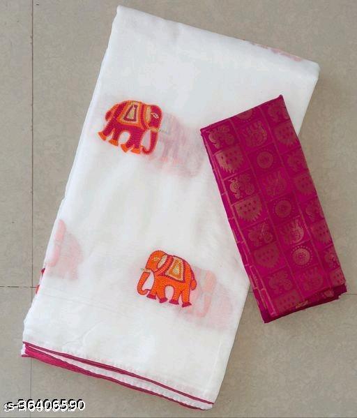 attractive elephant design work chanderi saree