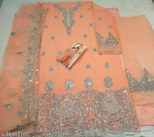 3Pc Sharara Suits With Heavy Work