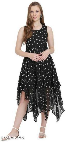 Women's Printed Black Georgette Dress