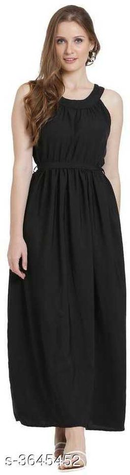 Women's Solid Black Poly Crepe Dress