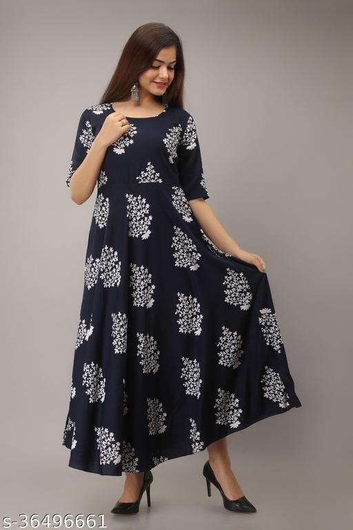 Printed Anarkali Kurti for Women Ethnic Wear Rayon Fabric