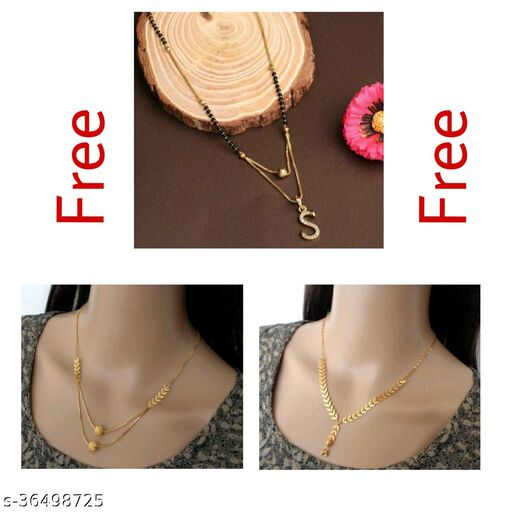 Fancy Letter With Mangalsutra & Necklaces Combo