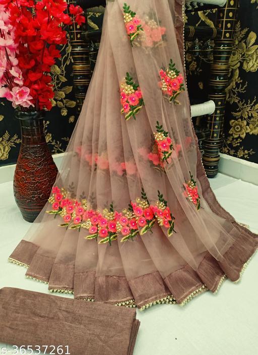 Stylish Embroidery Net Saree With Moti Lace