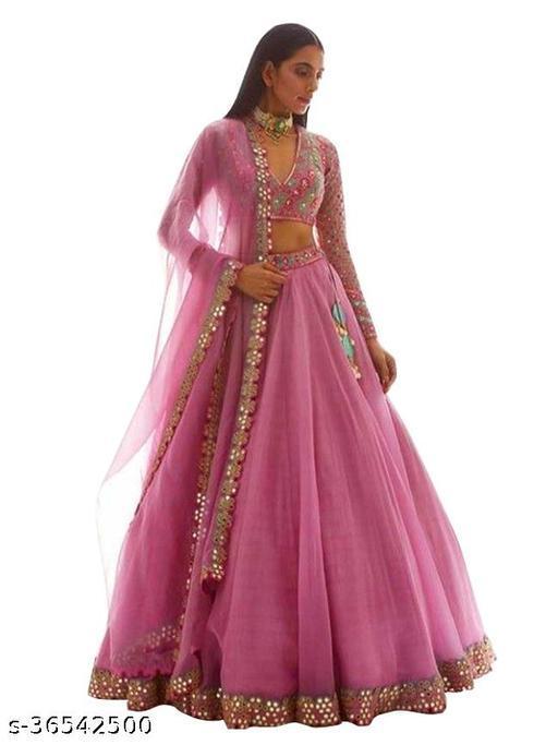 Women's pink Silk  Semi-Stitched Semi-Stitched Lehenga Choli