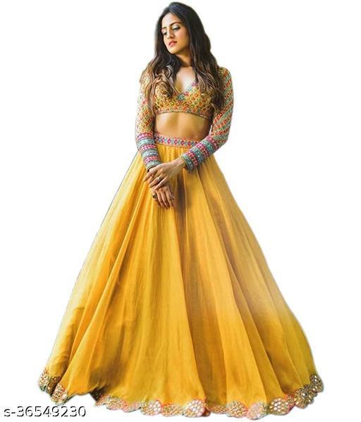 Women's Yellow Silk  Semi-Stitched Semi-Stitched Lehenga Choli