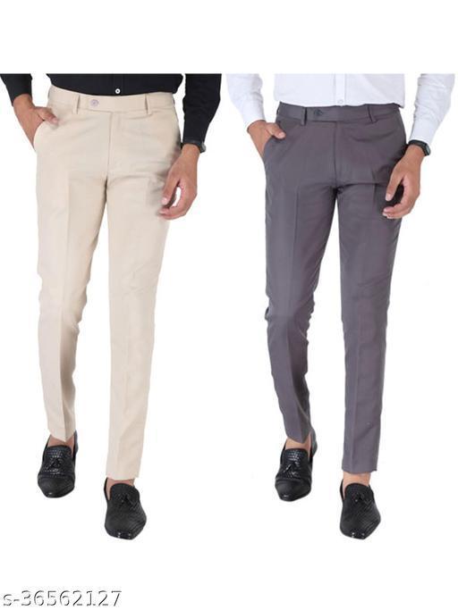 SREY Cream and Grey Combo Slim Fit Formal Trouser For Men