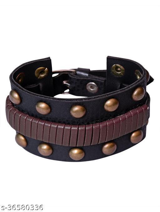 Trendy Rakhi Designs Faux Leather Stainless Steel Plated Wrist Band Bracelet For Brother/Bhaiya/Bhai/Bro Mauli Threads On This Raksha Bandhan