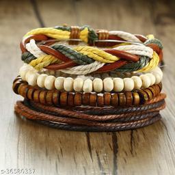 (Combo Of 4) Rakhi Designs Faux Leather Wristband Stretchable Wooden Beads Bracelet For Brother/Bhaiya/Bhai/Bro Mauli Threads On This For Raksha Bandhan